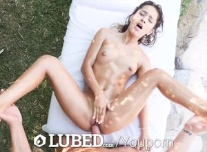 Lubricated Dark-haired Uma Jolie..