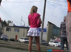 College girls with uniform upskirt..