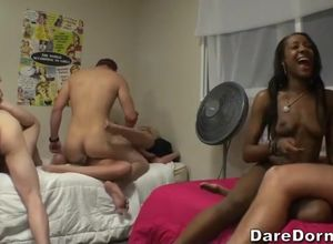 Ebony breezy in super-hot dormitory..