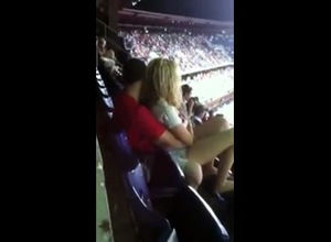 Public orgy in stadium during football..