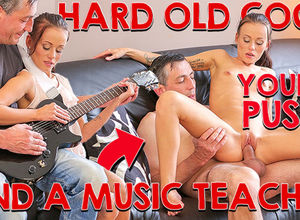 OLD4K. Daddy puts guitar aside and..