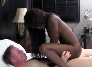 Insatiable ebony female rails milky..