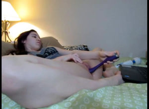 Round young dildoing snatch while..