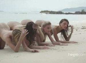 4 damsels naturist love being bare at..