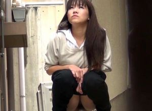 Japanese little girls piss squatting