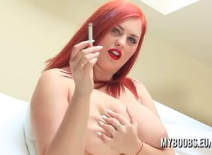 Redhair nubile plump unclothe and smoke